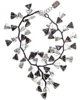 Black And White Smokey Quartz Crystal Waterfall Necklace