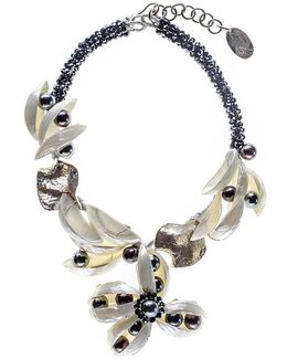 Mother Of Pearl And Pearl Statement Necklace