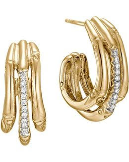 Bamboo 18k Yellow Gold Diamond Pavé Small Hoop Earrings With Diamonds
