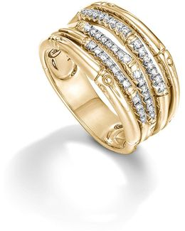 Bamboo 18k Yellow Gold Diamond Pavé Wide Ring