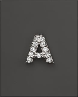 Diamond Initial Stud Earring In 14k White Gold
