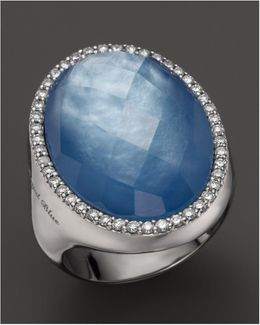Lapis And Mother-of-pearl Triplet Cocktail Ring With Diamonds