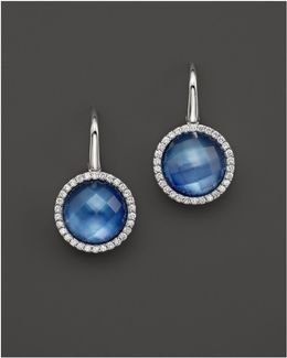 Lapis And Mother-of-pearl Triplet Cocktail Earrings With Diamonds