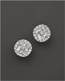 18k White Gold Diamond Baguette Stud Earrings