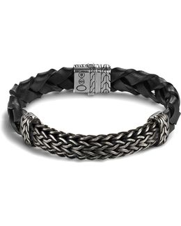 Men's Classic Chain Extra Large Oxidized Sterling Silver Station And Braided Black Leather Bracelet