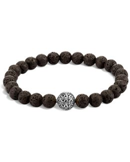 Men's Sterling Silver Classic Chain Large Beaded Bracelet With Black Volcanic Rock