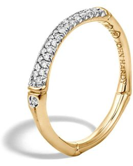 Bamboo 18k Yellow Gold Diamond Pavé Slim Band Ring