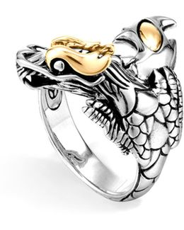 Sterling Silver & 18k Gold Naga Dragon Ring