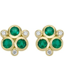18k Yellow Gold Classic Triple Stone Emerald And Diamond Earrings