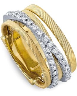 18k Yellow Gold Goa Five Row Ring With Diamonds