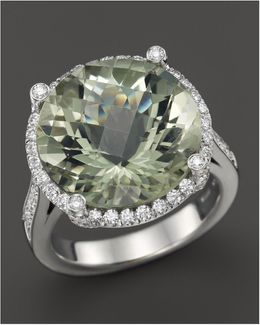 18k White Gold Ipanema Round Green Amethyst And Diamond Ring