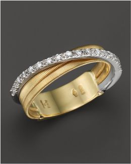 18k Yellow Gold Goa Three Row Ring With Diamonds