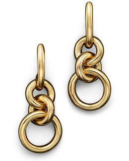 18k Yellow Gold Three Circle Drop Earrings