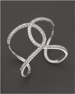 Diamond Interlocking Ring In 14k White Gold