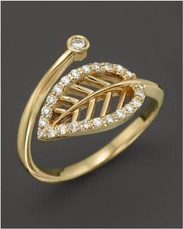 Diamond Leaf Midi Ring In 14k Yellow Gold
