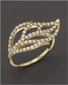 Diamond Leaf Ring In 14k Yellow Gold