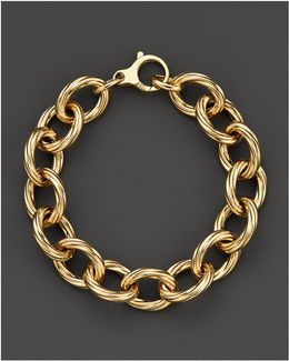 18k Yellow Gold Textured Oval Link Bracelet