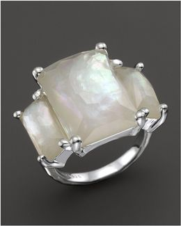 Sterling Silver Rock Candy 3-stone Prong Set Ring In Mother-of-pearl