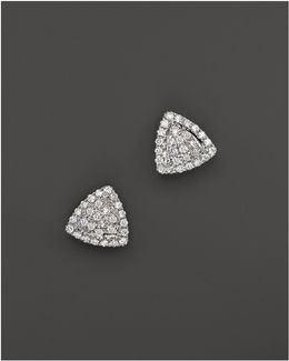 14k White Gold And Diamond Emily Sarah Triangle Stud Earrings