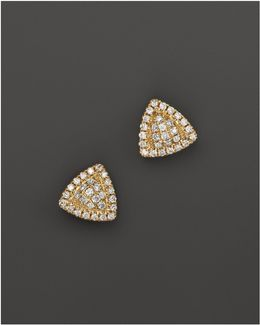 14k Yellow Gold Emily Sarah Triangle Stud Earrings