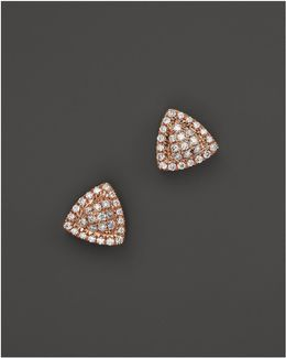 14k Rose Gold And Diamond Emily Sarah Triangle Stud Earrings