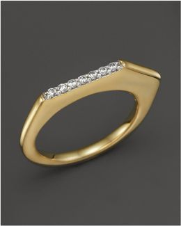18k Yellow Gold Pangea V Stacking Ring With Diamonds