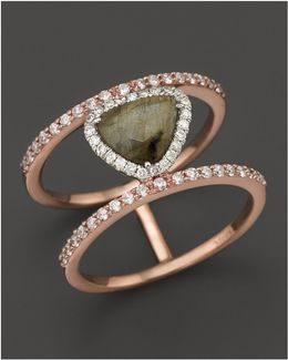 14k Rose Gold Triangular Labradorite Two-tiered Ring With Diamonds