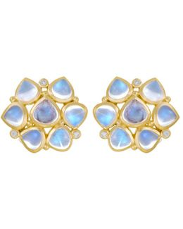 18k Yellow Gold Small Cluster Earrings With Royal Blue Moonstone And Diamonds