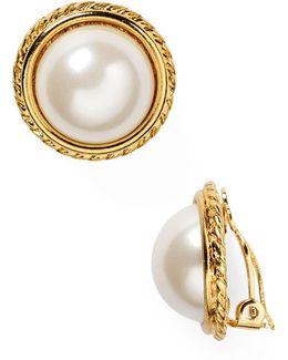 Rope Imitation-pearl Clip On Earrings