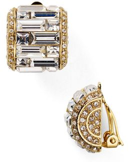 Crystal Baguette Huggie Clip On Earrings