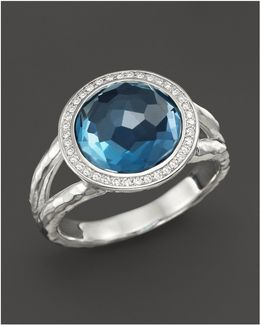 Sterling Silver Stella Mini Lollipop Ring In London Blue Topaz With Diamonds