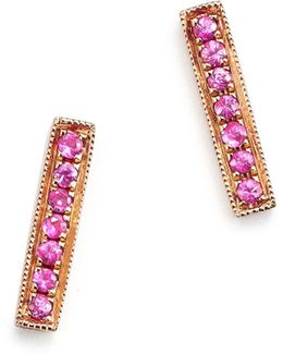 14k Rose Gold Bar Stud Earrings With Pink Sapphire