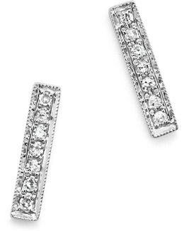 14k White Gold Bar Stud Earrings With Diamonds