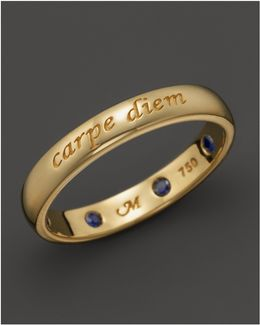 "18k Yellow Gold ""carpe Diem"" Posey Ring With Sapphires"