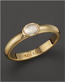 "18k Yellow Gold ""wish"" Posey Ring With Moonstone"