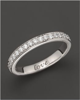 "18k White Gold ""love"" Posey Ring With Diamonds"