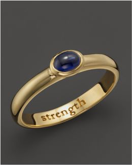 "18k Yellow Gold ""strength"" Posey Ring With Sapphire"