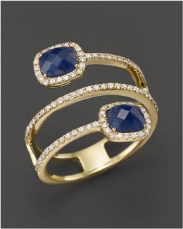 14k Yellow Gold Blue Sapphire Triple Row Ring With Diamonds