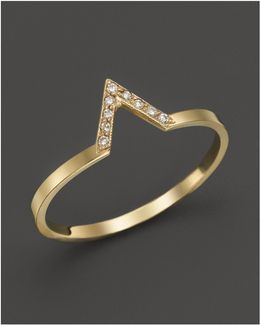 14k Yellow Gold Pavé Diamond Small V Ring