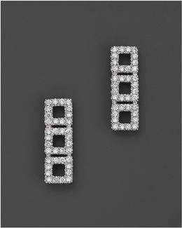 14k White Gold Allison Joy Square Earrings With White Diamonds