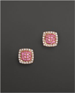 Emily Sarah Earrings In 14k Rose Gold With Diamonds And Pink Sapphire