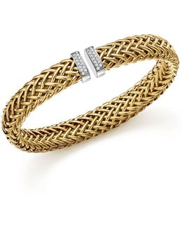 18k Yellow Gold Primavera Woven Bracelet With Diamonds