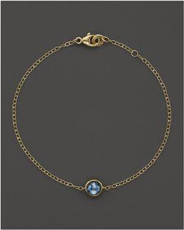 18k Gold Mini-lollipop Bracelet In London Blue Topaz