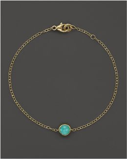18k Gold Mini-lollipop Bracelet In Turquoise