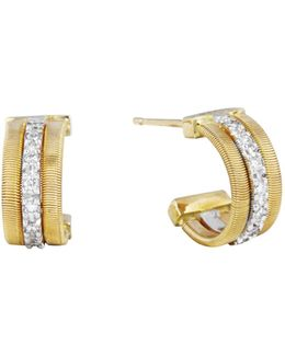 18k Gold Small Hoop Goa Earrings With Diamonds
