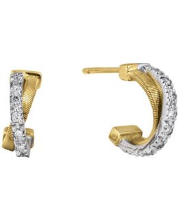 18k Gold Small Cross Over Hoop Earrings With Diamonds