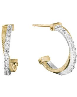 18k Gold Cross Over Hoop Earrings With Diamonds