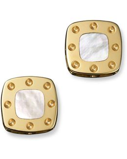 18k Yellow Gold Mini Pois Moi Mother-of-pearl Square Stud Earrings