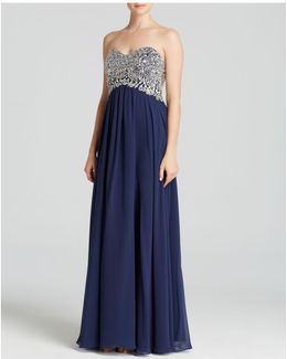 Gown - Strapless Embellished Bodice & Chiffon Skirt