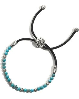 Men's Sterling Silver Classic Chain Round Beads Bracelet With Turquoise